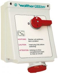 Switched Wall Socket, with interlocking IP44 - AE 160 406