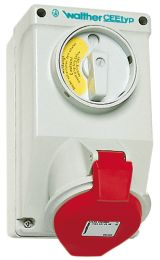 Switched Wall Socket, with interlocking, IP44 - AT 130 306