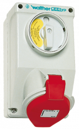 Switched Wall Socket, with interlocking, IP44 - AT 130